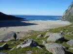 Arrivée sur la plage de Bunes, Iles Lofoten, Norvège
