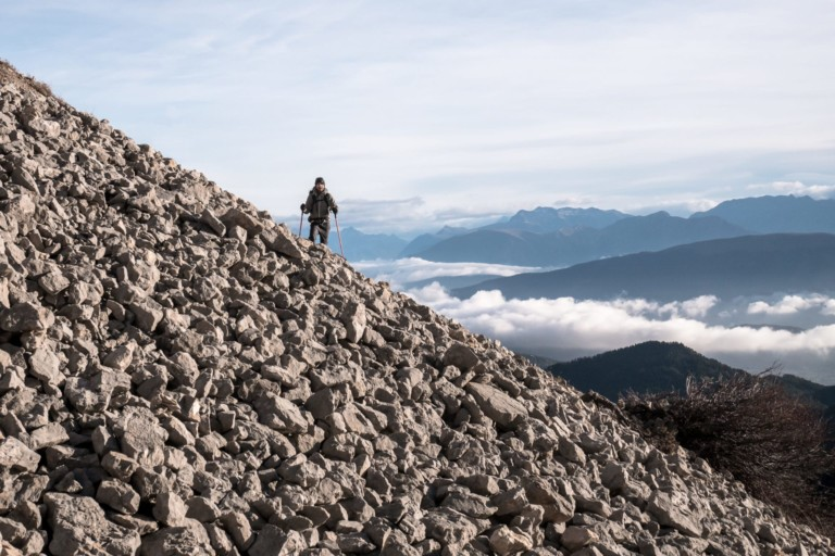 Jeff dans la montée vers le Pas de la Selle - Vercors